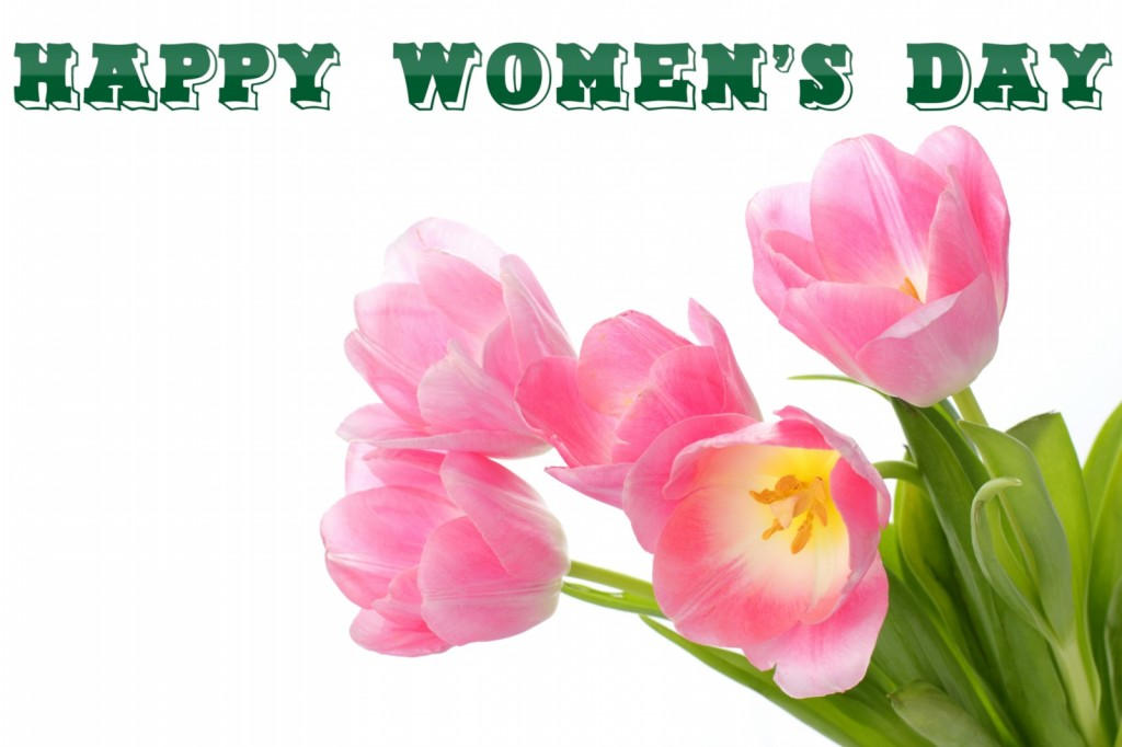 Happy-Women's-Day-with-Spring-flowers